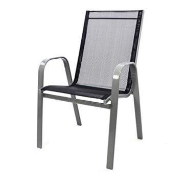Nexos Bistroset Balkonset – Gartengarnitur Sitzgarnitur aus Glastisch & Stapelstuhl – Stahlgestell Kunststoff Glasplatte – robust stapelbar – schwarz grau - 6