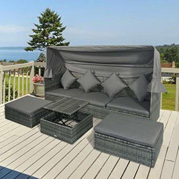 Outsunny Poly Rattan Lounge Set Loungegruppe mit Sonnendach Faltdach Sitzgruppe Sonneninsel inkl. Kissen und Beistelltisch Gartenmöbel Outdoor Grau - 3