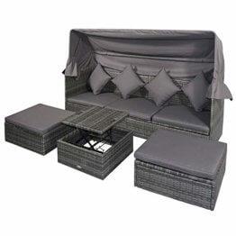 Outsunny Poly Rattan Lounge Set Loungegruppe mit Sonnendach Faltdach Sitzgruppe Sonneninsel inkl. Kissen und Beistelltisch Gartenmöbel Outdoor Grau - 1