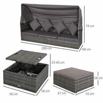 Outsunny Poly Rattan Lounge Set Loungegruppe mit Sonnendach Faltdach Sitzgruppe Sonneninsel inkl. Kissen und Beistelltisch Gartenmöbel Outdoor Grau - 5