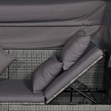 Outsunny Poly Rattan Lounge Set Loungegruppe mit Sonnendach Faltdach Sitzgruppe Sonneninsel inkl. Kissen und Beistelltisch Gartenmöbel Outdoor Grau - 7