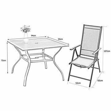 PHIVILLA 4+1 Gartenstühle und Tisch Klapp Gartenstühle mit Aluminiumrahmen, 6X verstellbar mit 7 sitzpositionen,Gartentisch aus Stahl Stahl Gartentisch mit Sonnenschirmloch Gartenmöbel-Sets (Schwarz) - 2