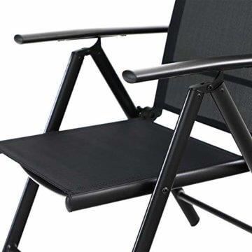 PHIVILLA 4+1 Gartenstühle und Tisch Klapp Gartenstühle mit Aluminiumrahmen, 6X verstellbar mit 7 sitzpositionen,Gartentisch aus Stahl Stahl Gartentisch mit Sonnenschirmloch Gartenmöbel-Sets (Schwarz) - 3