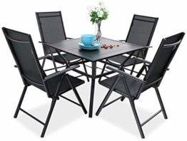 PHIVILLA 4+1 Gartenstühle und Tisch Klapp Gartenstühle mit Aluminiumrahmen, 6X verstellbar mit 7 sitzpositionen,Gartentisch aus Stahl Stahl Gartentisch mit Sonnenschirmloch Gartenmöbel-Sets (Schwarz) - 1