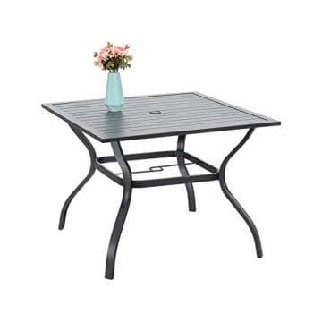 PHIVILLA 4+1 Gartenstühle und Tisch Klapp Gartenstühle mit Aluminiumrahmen, 6X verstellbar mit 7 sitzpositionen,Gartentisch aus Stahl Stahl Gartentisch mit Sonnenschirmloch Gartenmöbel-Sets (Schwarz) - 4