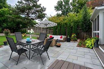 PHIVILLA 4+1 Gartenstühle und Tisch Klapp Gartenstühle mit Aluminiumrahmen, 6X verstellbar mit 7 sitzpositionen,Gartentisch aus Stahl Stahl Gartentisch mit Sonnenschirmloch Gartenmöbel-Sets (Schwarz) - 5