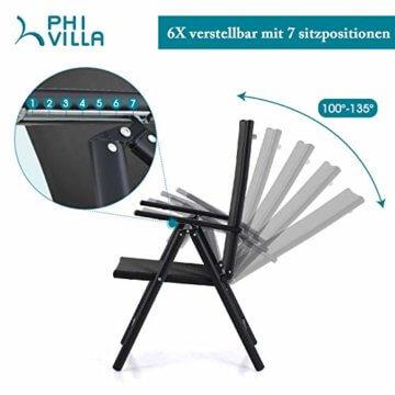 PHIVILLA 4+1 Gartenstühle und Tisch Klapp Gartenstühle mit Aluminiumrahmen, 6X verstellbar mit 7 sitzpositionen,Gartentisch aus Stahl Stahl Gartentisch mit Sonnenschirmloch Gartenmöbel-Sets (Schwarz) - 6