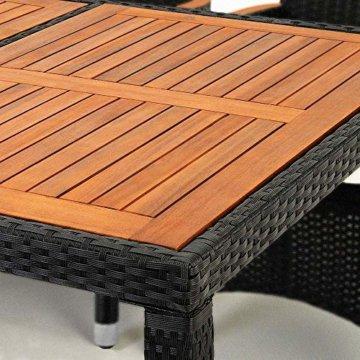 Poly Rattan 8+1 Sitzgruppe 8 Stapelbare Stühle 7cm Dicke Auflagen Gartentisch Armlehnen Holz Gartenmöbel Set Schwarz - 2