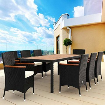 Poly Rattan 8+1 Sitzgruppe 8 Stapelbare Stühle 7cm Dicke Auflagen Gartentisch Armlehnen Holz Gartenmöbel Set Schwarz - 4