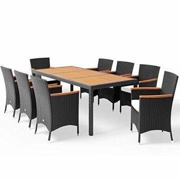 Poly Rattan 8+1 Sitzgruppe 8 Stapelbare Stühle 7cm Dicke Auflagen Gartentisch Armlehnen Holz Gartenmöbel Set Schwarz - 1