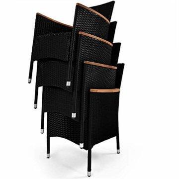 Poly Rattan 8+1 Sitzgruppe 8 Stapelbare Stühle 7cm Dicke Auflagen Gartentisch Armlehnen Holz Gartenmöbel Set Schwarz - 6