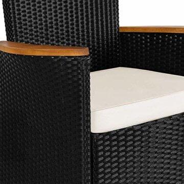 Poly Rattan 8+1 Sitzgruppe 8 Stapelbare Stühle 7cm Dicke Auflagen Gartentisch Armlehnen Holz Gartenmöbel Set Schwarz - 7