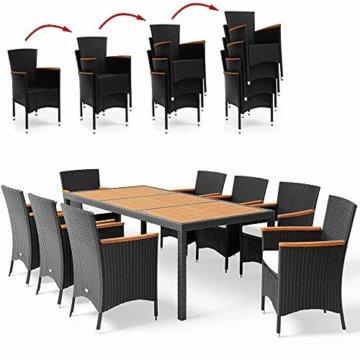Poly Rattan 8+1 Sitzgruppe 8 Stapelbare Stühle 7cm Dicke Auflagen Gartentisch Armlehnen Holz Gartenmöbel Set Schwarz - 8