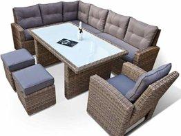 RAGNARÖK hohe Dinning Lounge - DEUTSCHE Marke - 8 Jahre GARANTIE EIGENE Produktion - PolyRattan Gartenmöbel Essgruppe Hocker Sessel verstellbare Lehn Naturfarben Rundrattan - 1