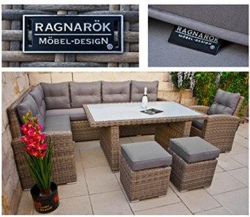 RAGNARÖK hohe Dinning Lounge - DEUTSCHE Marke - 8 Jahre GARANTIE EIGENE Produktion - PolyRattan Gartenmöbel Essgruppe Hocker Sessel verstellbare Lehn Naturfarben Rundrattan - 9
