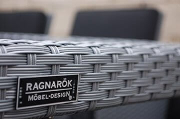 Ragnarök-Möbeldesign PolyRattan - DEUTSCHE Marke - EIGNENE Produktion - 8 Jahre GARANTIE auf UV-Beständigkeit Gartenmöbel Essgruppe Tisch + 6 Stühle & 4 Hocker 16 Polster Platinum Grau - 4