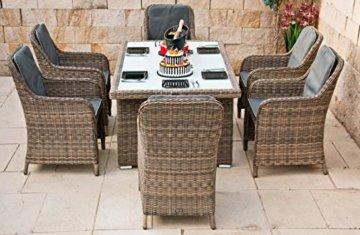 RAGNARÖK PolyRattan - DEUTSCHE Marke - EIGENE Produktion - 8 Jahre GARANTIE auf UV-Beständigkeit - Gartenmöbel Essgruppe Tisch 6 Sessel 12 Polster Naturfarben Rostfrei Aluminium Rundrattand - 2