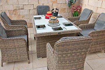 RAGNARÖK PolyRattan - DEUTSCHE Marke - EIGENE Produktion - 8 Jahre GARANTIE auf UV-Beständigkeit - Gartenmöbel Essgruppe Tisch 6 Sessel 12 Polster Naturfarben Rostfrei Aluminium Rundrattand - 3