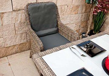 RAGNARÖK PolyRattan - DEUTSCHE Marke - EIGENE Produktion - 8 Jahre GARANTIE auf UV-Beständigkeit - Gartenmöbel Essgruppe Tisch 6 Sessel 12 Polster Naturfarben Rostfrei Aluminium Rundrattand - 5