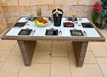 RAGNARÖK PolyRattan - DEUTSCHE Marke - EIGENE Produktion - 8 Jahre GARANTIE auf UV-Beständigkeit - Gartenmöbel Essgruppe Tisch 6 Sessel 12 Polster Naturfarben Rostfrei Aluminium Rundrattand - 6