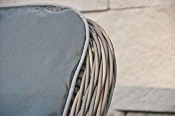 RAGNARÖK PolyRattan - DEUTSCHE Marke - EIGENE Produktion - 8 Jahre GARANTIE auf UV-Beständigkeit - Gartenmöbel Essgruppe Tisch 6 Sessel 12 Polster Naturfarben Rostfrei Aluminium Rundrattand - 9