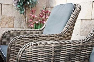 RAGNARÖK PolyRattan - DEUTSCHE Marke - EIGENE Produktion - 8 Jahre GARANTIE auf UV-Beständigkeit - Gartenmöbel Essgruppe Tisch 6 Sessel 12 Polster Naturfarben Rostfrei Aluminium Rundrattand - 10
