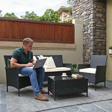 SONGMICS Gartenmöbel-Set aus Polyrattan, Lounge-Set, in Rattanoptik, Terrassenmöbel, Balkonmöbel, für Terrasse, Garten, Balkon, schwarz-beige GGF002B02 - 2
