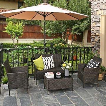 SONGMICS Gartenmöbel-Set aus Polyrattan, Lounge-Set, in Rattanoptik, Terrassenmöbel, Balkonmöbel, für Terrasse, Garten, Balkon, braun-beigeGGF002K02 - 4