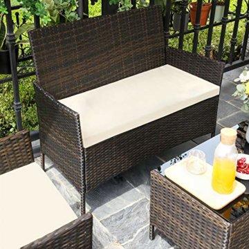 SONGMICS Gartenmöbel-Set aus Polyrattan, Lounge-Set, in Rattanoptik, Terrassenmöbel, Balkonmöbel, für Terrasse, Garten, Balkon, braun-beigeGGF002K02 - 5