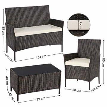 SONGMICS Gartenmöbel-Set aus Polyrattan, Lounge-Set, in Rattanoptik, Terrassenmöbel, Balkonmöbel, für Terrasse, Garten, Balkon, braun-beigeGGF002K02 - 7