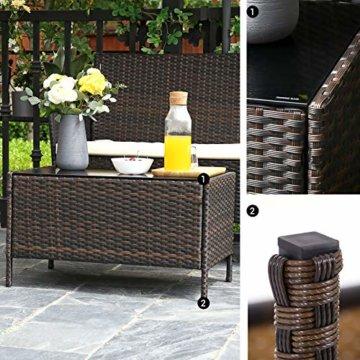 SONGMICS Gartenmöbel-Set aus Polyrattan, Lounge-Set, in Rattanoptik, Terrassenmöbel, Balkonmöbel, für Terrasse, Garten, Balkon, braun-beigeGGF002K02 - 8