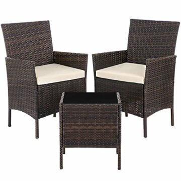 SONGMICS Gartenmöbel-Set aus Polyrattan, Lounge-Set, in Rattanoptik, Terrassenmöbel, Balkonmöbel, für Terrasse, Garten, Balkon, braun-beige GGF001K02 - 1