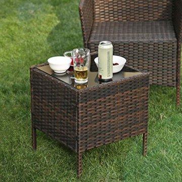 SONGMICS Gartenmöbel-Set aus Polyrattan, Lounge-Set, in Rattanoptik, Terrassenmöbel, Balkonmöbel, für Terrasse, Garten, Balkon, braun-beige GGF001K02 - 2