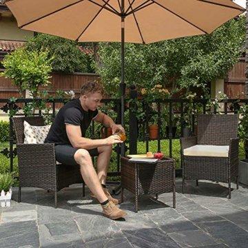 SONGMICS Gartenmöbel-Set aus Polyrattan, Lounge-Set, in Rattanoptik, Terrassenmöbel, Balkonmöbel, für Terrasse, Garten, Balkon, braun-beige GGF001K02 - 5