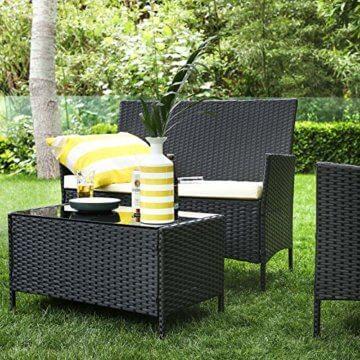 SONGMICS Gartenmöbel-Set aus Polyrattan, Lounge-Set, in Rattanoptik, Terrassenmöbel, Balkonmöbel, für Terrasse, Garten, Balkon, schwarz-beige GGF002B02 - 3