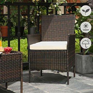 SONGMICS Gartenmöbel-Set aus Polyrattan, Lounge-Set, in Rattanoptik, Terrassenmöbel, Balkonmöbel, für Terrasse, Garten, Balkon, braun-beige GGF001K02 - 6