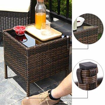 SONGMICS Gartenmöbel-Set aus Polyrattan, Lounge-Set, in Rattanoptik, Terrassenmöbel, Balkonmöbel, für Terrasse, Garten, Balkon, braun-beige GGF001K02 - 8
