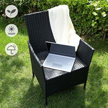 SONGMICS Gartenmöbel-Set aus Polyrattan, Lounge-Set, in Rattanoptik, Terrassenmöbel, Balkonmöbel, für Terrasse, Garten, Balkon, schwarz-beige GGF002B02 - 4