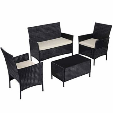 SONGMICS Gartenmöbel-Set aus Polyrattan, Lounge-Set, in Rattanoptik, Terrassenmöbel, Balkonmöbel, für Terrasse, Garten, Balkon, schwarz-beige GGF002B02 - 1