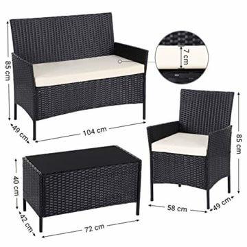 SONGMICS Gartenmöbel-Set aus Polyrattan, Lounge-Set, in Rattanoptik, Terrassenmöbel, Balkonmöbel, für Terrasse, Garten, Balkon, schwarz-beige GGF002B02 - 5