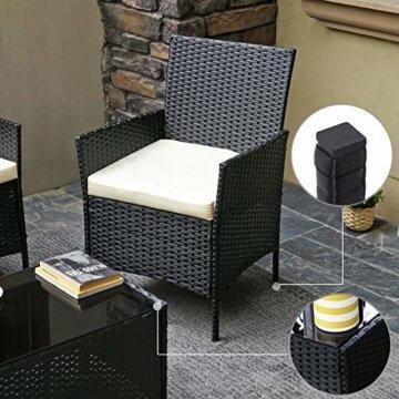 SONGMICS Gartenmöbel-Set aus Polyrattan, Lounge-Set, in Rattanoptik, Terrassenmöbel, Balkonmöbel, für Terrasse, Garten, Balkon, schwarz-beige GGF002B02 - 6