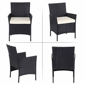 SONGMICS Gartenmöbel-Set aus Polyrattan, Lounge-Set, in Rattanoptik, Terrassenmöbel, Balkonmöbel, für Terrasse, Garten, Balkon, schwarz-beige GGF002B02 - 7