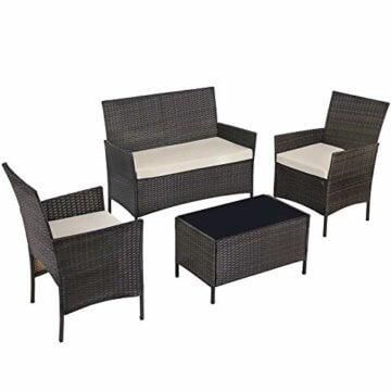 SONGMICS Gartenmöbel-Set aus Polyrattan, Lounge-Set, in Rattanoptik, Terrassenmöbel, Balkonmöbel, für Terrasse, Garten, Balkon, braun-beigeGGF002K02 - 1