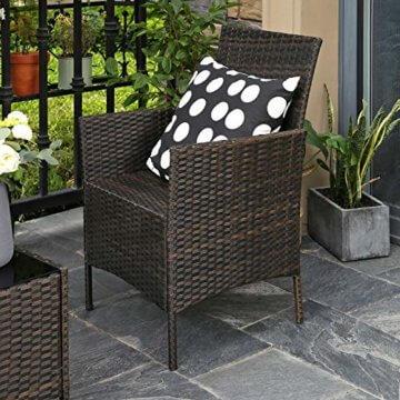 SONGMICS Gartenmöbel-Set aus Polyrattan, Lounge-Set, in Rattanoptik, Terrassenmöbel, Balkonmöbel, für Terrasse, Garten, Balkon, braun-beigeGGF002K02 - 2