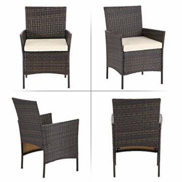 SONGMICS Gartenmöbel-Set aus Polyrattan, Lounge-Set, in Rattanoptik, Terrassenmöbel, Balkonmöbel, für Terrasse, Garten, Balkon, braun-beigeGGF002K02 - 3