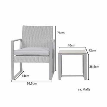 SVITA LOIS Poly Rattan Sitzgruppe Gartenmöbel Metall-Garnitur Bistro-Set Tisch Sessel grau - 2