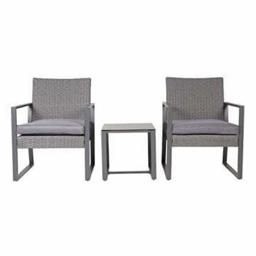 SVITA LOIS Poly Rattan Sitzgruppe Gartenmöbel Metall-Garnitur Bistro-Set Tisch Sessel grau - 3