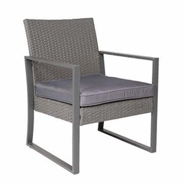 SVITA LOIS Poly Rattan Sitzgruppe Gartenmöbel Metall-Garnitur Bistro-Set Tisch Sessel grau - 4