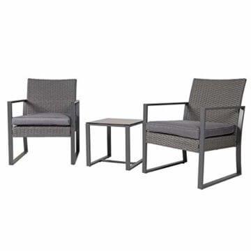 SVITA LOIS Poly Rattan Sitzgruppe Gartenmöbel Metall-Garnitur Bistro-Set Tisch Sessel grau - 1