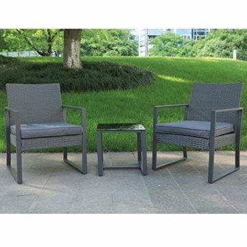 SVITA LOIS Poly Rattan Sitzgruppe Gartenmöbel Metall-Garnitur Bistro-Set Tisch Sessel grau - 5